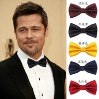 Wholesale Cheap Mens Neck Ties - Colorful Groom Ties Available Mens Necktie Satin Bow Tie Stripe Plain Solid Color Tie Neck Factory's Super Cheap Wedding Accessory