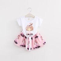 Wholesale Pink Ribbon T Shirts Wholesale - 2 color Baby Girls pretty girl Print T-Shirt + skirt 2pcs Suits kids fashion Outfits 2016 new Children cartoon Clothing