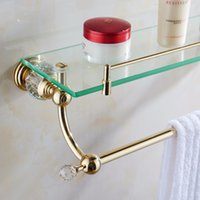 Wholesale Bathroom Accessories Glass Shelf - Bathroom Accessories Solid Brass Golden Finish With Tempered Glass,Crystal Double Glass Shelf Bathroom Shelf Free Shipping HK-39