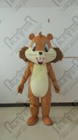 Wholesale Squirrel Mascot Costumes - Wholesale-Brown rice yellow belly body squirrel cartoon mascot costume