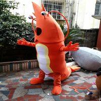 desenhos animados do oceano venda por atacado-Fábrica profissional camarão Mascot Costume Ocean Animal mascote Adulto Trajes de Camarão Laranja Trajes Dos Desenhos Animados Trajes de Publicidade