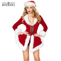 Wholesale Santa Costume Adult - Wholesale-Hotapei 2016 New Fashion Christmas Adult Sexy Costumes For Women Two Piece Chic Velvet Santa Costume LC7275 Halloween Mujer