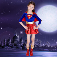 Wholesale Girls Super Fancy Dress - ancy dress superheroes Kids Child Girls supergirl Superman Cosplay Costume Christmas Day Happy New Year Halloween Purim Fancy Dress Super...