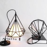 Wholesale Industry Energy Saving - D28cm Restoring Ancient Ways Diamond Wrought Iron Cage Pendant Lamp Nordic Single head Restaurant Industry Pendant Lights