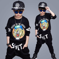 Wholesale Tiger Shirts For Girls - 2017 Tiger head Spring and Summer Leisure Suits For Boys and Girls, Long-sleeved T-shirt+Pants Two Pieces Suit Kids Tiger Pattern Clothes