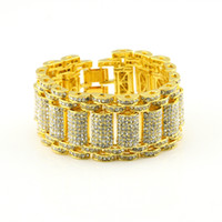 bracelet de tennis en or 14k achat en gros de-14k Gold Silver Iced Out Bling Bling Simulated Diamond MicroPave Bling HipHop Bracelet réglable pour hommes