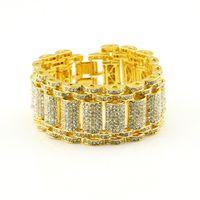 Wholesale Bracelet Bling Men - 14k Gold Silver Iced Out Bling Bling Simulated Diamond MicroPave Bling HipHop Adjustable Bracelet For Men