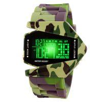 mens silikon dijital saat toptan satış-Adam için Kore Moda Mens Watch Band Silikon Saatler Spor Analog Kuvars Moda Düzlem Tasarım LED Dijital Casual İzle için Mens