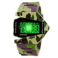 Wholesale Digital Plane - Korean Fashion Mens Watch Band Silicone Watches for Man Sport Analog Quartz Fashion Plane Design LED Digital Casual Watch for Mens