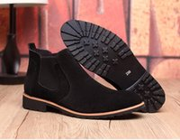 Wholesale Black Chelsea Boots Flat - Vintage Suede Chelsea Men Leather Boots British Style Men's Ankle Boot For Autumn Winter Male Nubuck Leather Boots
