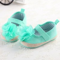 Wholesale Green Flower Girl Shoes - Wholesale- Flower Green White Baby Girls Dress Shoes Infant Kid Anti Slip First Walkers Footwear Baby Princess Shoes Mary Jane Shoe Sapatos