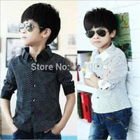 Wholesale Boys Designer Shirts - Children's Clothing Long Sleeve Boys Shirts New 2016 Spring Baby Kids Fashion Designer Polka Dot Shirt For Boys camisa criancas