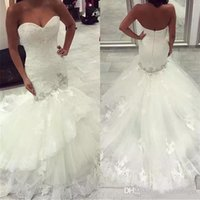 Wholesale Charming Organza Wedding Dresses - Charming 2017 New Sweetheart Lace Mermaid Wedding Dresses Zipper Back Lace Appliques Organza Tulle Gowns Bridal Gowns Custom Made