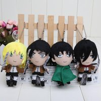 Wholesale Attack Titan Levi Wig - 4pcs set 12cm Attack On Titan Plush Toy Cute Mikasa Eren Levi Armin Soft Stuffed KeyChain Doll 1206#06