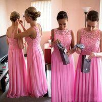 Wholesale Low Neckline Tops Black - Modest Long Formal Bridesmaid Dress Pink Bridesmaids Gowns Lace Top Illusion Neckline Sleeveless Low Back Side Zipper Floor Length