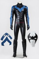 Wholesale Halloween Costumes Young - Free Shipping Apparel Theme Cloth High Quality Halloween Chrismas Cosplay Batman Young Justice Nightwing Costume Full Set