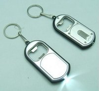 Wholesale Ra Led Flashlights - RA 3 in 1 LED Flashlight Torch Keychain With Beer Bottle Opener Key Ring Chain Keyring