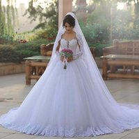 Wholesale Tulle Mid Wedding Dress - 2017 Ball Gown Wedding Dresses with Sweetheart Neckline Illusion Long Sleeves Appliques Lace Tulle V-Neck Sexy Mid-East Bridal Gowns