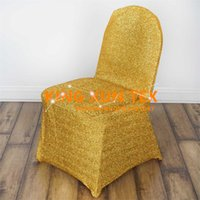 housse de chaise en or à bas prix achat en gros de-Nouveau design brillant Light Stretch Cheap Wedding Chair Cover \ Banquet Chair Cover Gold et Silver Color