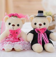 Wholesale Stuffed Animals Wedding Bears - 2 pieces lot high quality new arrived Wedding present baby toys lover's gift stuffed plush animals bear toys 12cm