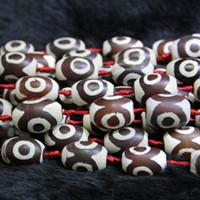 Wholesale Dzi Beads Eye - Natural Red White Eyes Beads, Tibetan Dzi Agate Beads, Barrels Beads Gemstone Quartz Druzy Agate Necklace Pendant Jewelry Make Connector