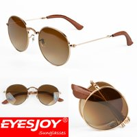 Wholesale Pops Fashion Sunglasses - Roun Collections Folding Sunglasses EYESJOY Fashion Designer Pop Men Women PU Leather Metal Frame G15 Glass Lens Sunglasses for Men with Box