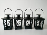 Wholesale White Wedding Metal Lantern - Cheap Black White Metal candle holders Iron lantern wedding candelabra candelabra centerpieces wedding moroccan lanterns candle lantern