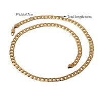 Wholesale Wholesale Solid Yellow Gold Jewelry - 2017 Fashion Unisex Mens Solid 18k Yellow Gold Filled Cuban Curb Necklace Mens Age-old Chain Fashion Shiny Jewelry 7mm Free Ship