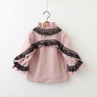 Wholesale Girls Lace Cardigan Jacket - Girls Lace Jackets Autumn 2017 Baby Girls Fashion Bow Cardigan Kids Girls Princess Ruffles Outwear Baby Clothing