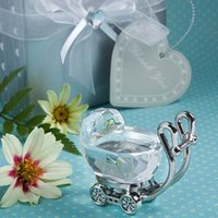 Wholesale gifts for baby boy party resale online - Pram New Born Carriage Crystal Baby Shower Boy Girl Kids Birthday Party Favors For Guests lembrancinha de baby Gift Box
