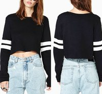 Wholesale Wholesale T Shirts Sweaters - 2016 Autumn Women Sweaters O Neck Stripe Splicing Female Long Sleeve Sweatshirts Fashion Short t Shirt Pullovers Black White WY6974 10pcs