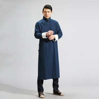 Wholesale Cool Jacket Designs - Fall-Manual design Chinese style men's trench jacket men loose leisure 100% linen long coat punk cool men Kung Fu clothing Q397
