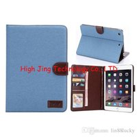 Wholesale Ipad Mini Photos - Jean Cloth Wallet Flip Leather Case with Credit Card Holder Holster for For iPad Mini 2 3 4 Photo Frame Pouch
