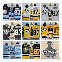 Wholesale Mixed Light S - 2017 Stanley Cup 50th Pittsburgh Penguins #87 Sidney Crosby Black White Light blue Black yellow Stitched Ice Hockey Jerseys Mix Order