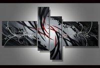 soyut modern siyah beyaz tuval resmi toptan satış-100% El boyalı Büyük Siyah Beyaz Ve Kırmızı Soyut yağlıboya Modern Sanat Duvar Sanatı Tuval Yüksek kaliteli Ev Ofis Otel Dekorasyon Abs78