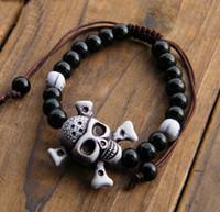Wholesale wholesale gold skull bracelets - Wholesale-2016 New Fashion Men's Bracelet Gold Silver skull Elastic Black Color Plastic BeaDS Tibet Charm bracelets FOR WOMAN