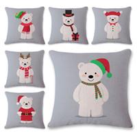 Wholesale hotels bear - Linen Christmas Pillowcase Pillow Case Polar Bear Cartoon Sofa Cushion Cover Decoration Home Decor Gift Square Decorative Car Flax Room