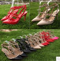 Wholesale Clear Wedding Shoes Rhinestones - High Quality V Rivets pumps high heels Genuine leather Wedding Shoes 10cm Heel Woman's High-heeled shoes 35-42