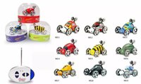 Wholesale Mini Metal Remote Toy Car - RC Stunt Jump Cars 27MHz frequency Rolling Rotating Wheel Car Kids' toys Cute insect 9-Colors Jumping Car Toy