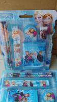 Wholesale Princess Set Pencil - Kids Birthday Gifts Elsa Anna Princess Stationary Set 6pcs Pack pencil 2+rubber 1+ruler 1+wallet 1+ pencil sharpener 1 24packs