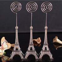 Wholesale Eiffel Tower Place Card Holders - 100pcs wedding Decoration 16.5cm Paris Eiffel Tower Brozen Place Name photo Business Card Holder message board clip DHL free