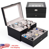 Wholesale Display Case Organizer Glass Top Jewelry Storage Slot Leather Watch Box