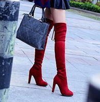 ingrosso stivali neri sexy di brevetto-2013 pelle scamosciata nera sexy della pelle verniciata sopra il ginocchio alto coscia alta lunghi stivali delle donne sottili della pelliccia sexy invernali