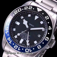 Wholesale crystal bezel watch - New 42mm Pelagos GMT Rotor Self-Winding HK Automatic Black Blue Ceramics Bezel Black Dial Mens Watch Mechanical Watches Hight Quality T59a1