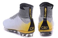 Wholesale Style Leather Mens Boot - 2016 New Styles Mercurial Superfly CR7 324K Gold IV FG Boots 100% Original soccer cleats Sports Shoes Mens women Football Boots Cleats 35-45