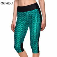 Wholesale Phone Pants - Wholesale-New 2016 Sexy Women's 7 point pants women legging Blue scales sexy mermaid digital print women high waist Side pocket phone