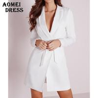 blazer dresses toptan satış-Kadınlar Zarif Uzun Blazer Elbise Ofis Lady Uzun Kollu Blasers Giyim Workwear ile Kemer Blazer Katı Siyah Beyaz Tops Seksi V Boyun
