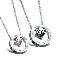 Wholesale Korean New Love - The new Korean jewelry pendant necklace titanium titanium cube lovers love and pendant N1011