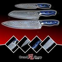 Wholesale Kitchen Utility Knife Set - GRANDSHARP 3pcs Damascus Knife Set 67 Layers Japanese Damascus Steel vg10 Chef Santoku Utility Kitchen Knives Pro Tools NEW