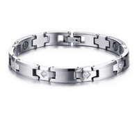 fashion magnetic therapy bracelet UK - New 8MM Tungsten Steel Health Bracelet Fashion Mens Magnetic Therapy Bracelet Germanium Ion Wrist CZ Stone Bracelet B883S